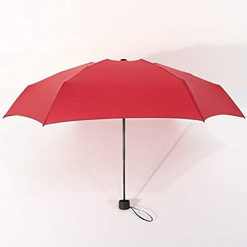 MAWA Mini Paraguas De Bolsillo para Mujer UV Paraguas Pequeños 180g Lluvia Mujer Impermeable para Hombre Parasol para El Sol Práctico Viaje para Niñas Parapluie Kid - Wine Red, a2