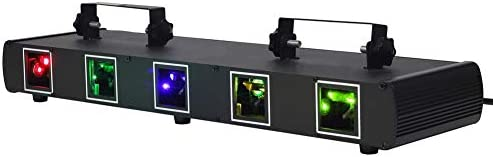 Laser Lights U king 5 Beam Effect Sound Activated DJ Party Lights RGBYC LED Music Lights by product image