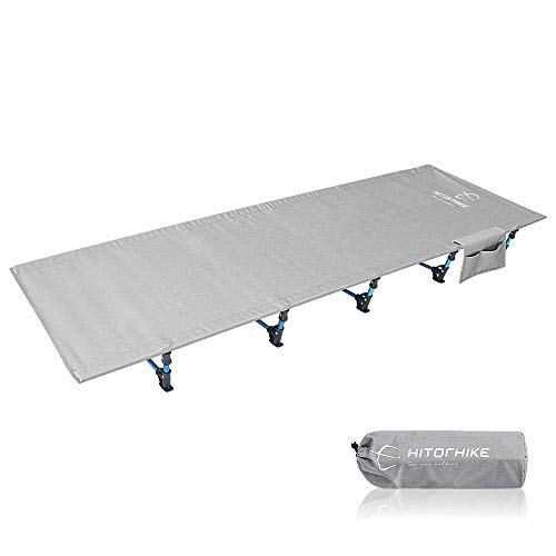 QinWenYan Cama Plegable Cama Plegable For Acampar Al Aire Libre, Senderismo Cama Súper Ligera De Aluminio For Acampar (Color : Silver, Size : 190 * 70 * 17cm)