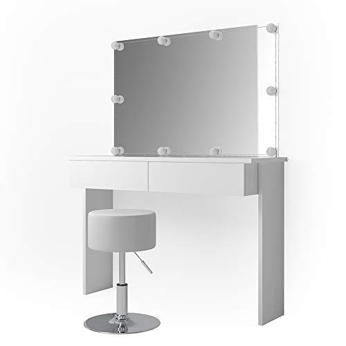 Vicco Schminktisch Azur mit LED-Beleuchtung, Hocker und Spiegel Weiß Hochglanz Kosmetiktisch Frisierkommode Frisiertisch...