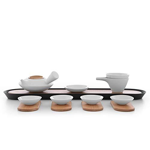 Servizio tè deluxe per cerimonia del tè giapponese, teiera, 4 tazze da tè, porcellana