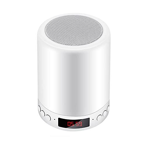 STRMSF Luz Nocturna Led, Lámpara de altavoz Bluetooth tactil 7 colores, lamparitas de noche dormitorio con Despertador para Escritorio, Habitación, Camping, Ambiente de Interior