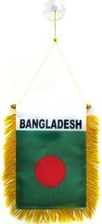 Bangladesh Mini Banner 6'' x 4'' - Bangladeshi Pennant 15 x 10 cm - Mini Banners 4x6 inch Suction Cup Hanger - AZ FLAG