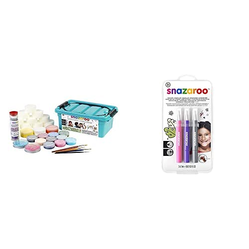 Snazaroo Pintura Facial Y Corporal, Kit Profesional De 35 Piezas + Set De 3 Rotuladores De Maquillaje Fantasía, Color Rosa, Violeta, Plata , Color/Modelo Surtido