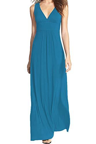WOOSEA Women Sleeveless Deep V Neck Loose Plain Long Maxi Casual Dress Cyan Blue
