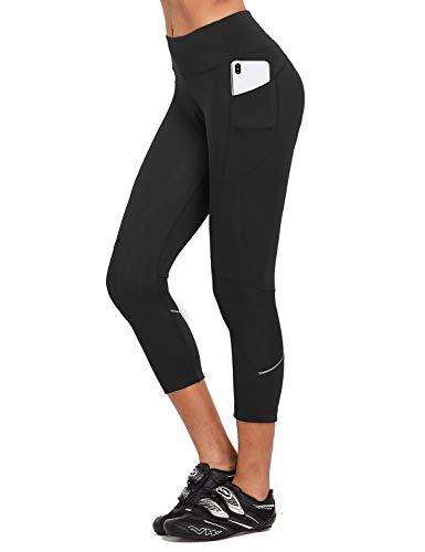 BALEAF Women's Cycling Pants 3D Padded 3/4 Bike Shorts Tights Capri Side Pockets High Waistband UPF50+ Black M