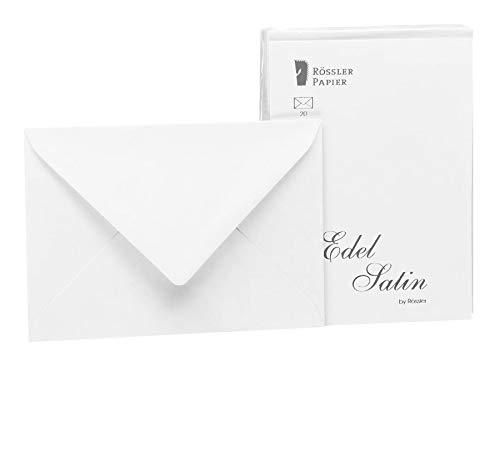 Rössler 2031838001 - Edel Satin - Briefumschlagpack 20/C6 mit Seidenfutter, weiß