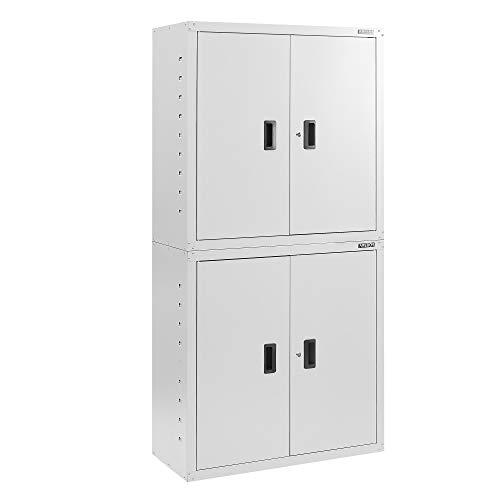 AREBOS Armario archivador para oficina | gris | 180 x 40 x 90 cm | 4 puertas | estantes regulables en altura | con cerradura de cilindro