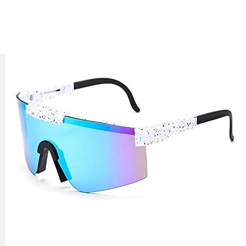 Gafas de Sol Deportivas para Hombres y Mujeres, Gafas de Ciclismo Pit-Vipers para Exteriores, Gafas de Sol polarizadas de Doble Ancho UV400, Gafas a Prueba de Viento (Color : C12)