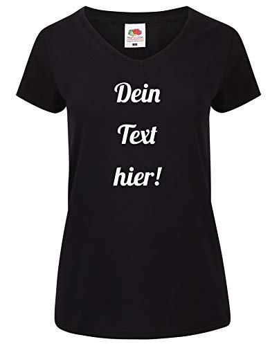 Damen T-Shirt V-Auschnitt Bedrucken mit dem Amazon Tshirt Designer. T-Shirt selber gestalten. T-Shirt Druck. T-Shirt mit Wunschtext. T Shirts sind Ökotex-100 Zertifiziert. Schwarz M