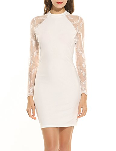 Zeagoo Damen Jerseykeid mit lange Spitzenärmeln Spitze Patchwork Stehenkragen Etuikleid (Weiß, XL)