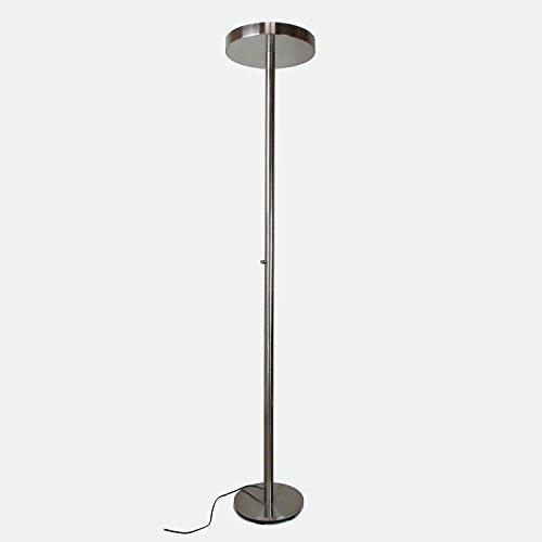 Lampadaire à variateur d'ambiance métal - Lumière Blanche LED - Finition Nickel satiné - Modèle FARO