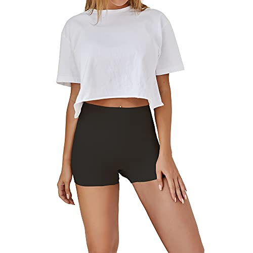 SHARICCA Damen Shorts Radlerhose Unterhose Hotpants Kurze Hose Hohe Taille Boxershorts aus Viskose (Schwarz, M)