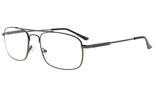 Eyekepper blauw licht blokkering lezer geheugen titanium computer leesbril mannen vrouwen transparante lens +1.25 gunmetal