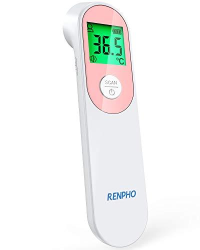 Infrarot Fieberthermometer Kontaktlos, RENPHO Digitales Stirnthermometer mit Fieberalarm, Sofortige Messung...