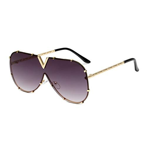 Gafas de sol para hombre, de gran tamaño, estilo femenino (lentes de color: gris C4)