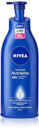 NIVEA Crema Corpo Nutriente (500ml), Crema idratante per pelle secca o molto secca, Formula arricchita con NIVEA Siero Idratazione Intensa, Olio di Mandorla Naturale e Vitamina E