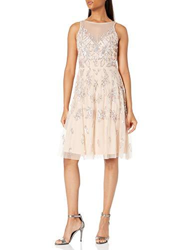 Adrianna Papell Women's Bead Tea Length Dress, CHAMPAGNE SAND, 16