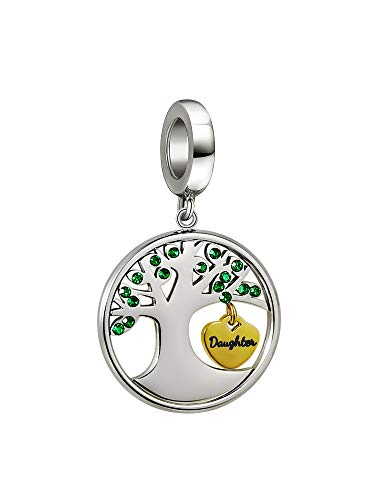 PHOCKSIN Daughter Charm Family Tree of Life Bead Charms for Bracelets Mothers Day Birthday Gifts for Daughter Jewellery from Mum Dad