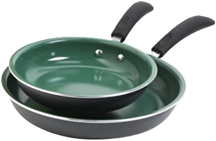 Gibson Home 91601.02 Hummington 2-Piece Ceramic Non-Stick Fry Pan Set, Green