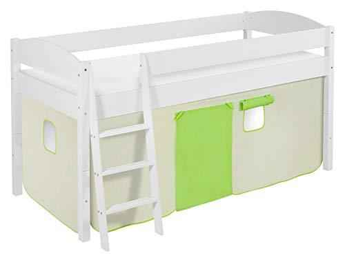 Lilokids Spielbett IDA 4105 Grün Beige-Teilbares Systemhochbett weiß-mit Vorhang Kinderbett, Holz, 208 x 98 x 113 cm