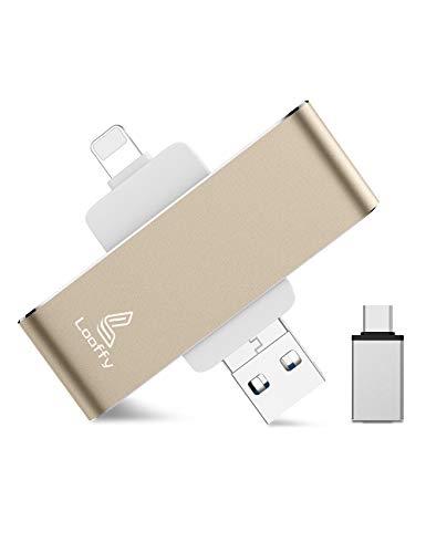 Looffy Pendrive 128GB Memoria USB para iPhone y iPad,Pen Drive USB 3.0 Flash Drive Photo Stick Tipo C para iOS Android Computadora Móvil Tableta Dispositivos 4 en 1