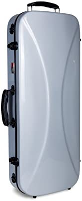 Crossrock Fiberglass Double Case for Two 4 4 Full Size Violins Backpack Style Silver CRF1000DVSL product image