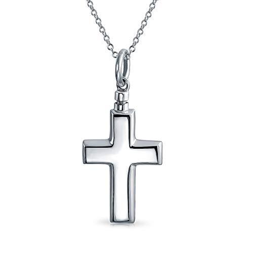Große Gravierbare Kreuz Medaillon Anhänger Für Frauen Für Männer Memorial Feuerbestattung Urne Halter Halskette Für Asche Sterling Silber
