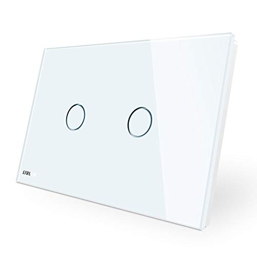 LIVOLO Interruttore della Luce con Indicatore LED Touch Switch con Pannello in Cristallo Toccare Interruttore a parete per Illuminazione Domestica,2 Gang 1 Way,C902-11