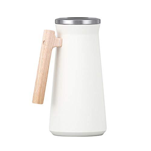 Thermoskanne Kaffeekanne Kaffee Vakuum Isolations, Edelstahl Thermosflasche Holz Griff Mit Druckknopf Oben, Wärme- Und Kältespeicherung, Thermokaraffe Für Kaffee, Tee, Getränke Etc (Weiß,1600ml)