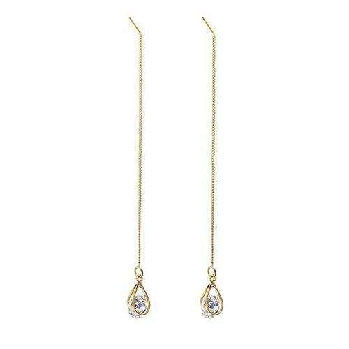 Muzhili3 - Pendientes de mujer con lágrima de circonita cúbica, cadena larga, cadena de hilo, pendientes colgantes, color dorado Golden