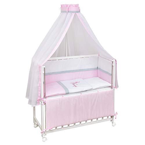 Baby Delux Beistellbett Princess Stubenwagen mobil Babybett Holz weiß 90x40cm inkl. Matratze und Komplett Bettset mit Stickerei