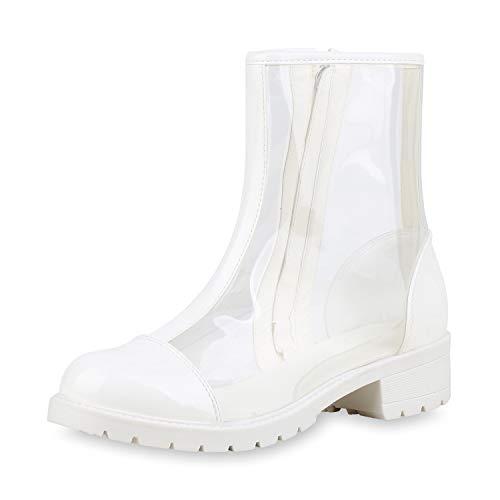 SCARPE VITA Klassische Damen Stiefeletten Transparente Boots Lack Schuhe 175459 Weiss 38