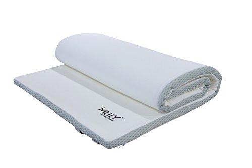Matratzenauflage, Visko-Matratzenauflage, EBI - A 90.4 Mlily Traum-Schlaf Visko-Matratzenauflage, Matratzenauflagen, Auflage, viscoelastische Topper 90x200x4 cm, weiß