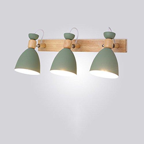Rotatif LED Mur Lumière Macarons Fer Solide Bois Chevet Chambre Corridor Étude Salle Des Enfants WC Miroir Lampe 3 Têtes Lampe Murale Éclairage Économie D'énergie Décoratif 5W Blanc (Total15W),Green