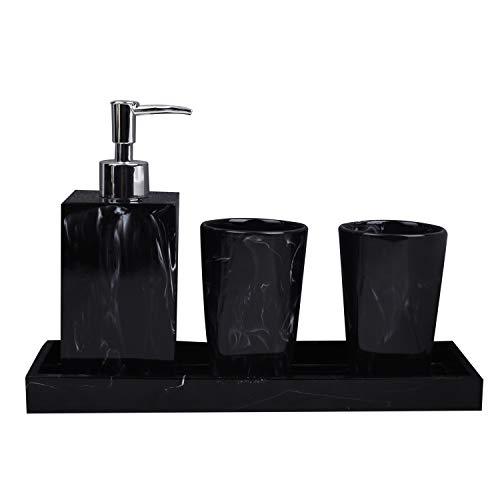 Tiamu Lot de 4 accessoires de salle de bain texture marbre en résine avec distributeur de brosse à dents et distributeur de savon Noir