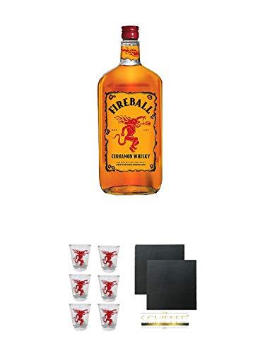Fireball Whisky Zimt Likör Kanada 0,7 Liter + Fireball SHOT Gläser mit Schriftzug 6 Stück + Schiefer Glasuntersetzer eckig ca. 9,5 cm Ø 2 Stück