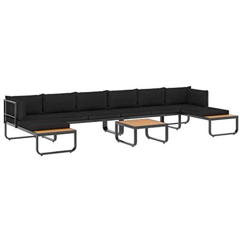 Benkeg Set de Sofás de Esquina de Jardín 5 Pzas Cojines Aluminio y WPC Gris Oscuro y marrón, Mesa y Sillas Terraza Jardín Balcon Exterior, Conjunto de Muebles de Jardín