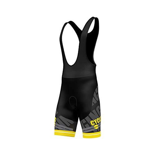 Salopette per ciclismo, imbottita in gel 3D, pantaloncini da ciclismo con stampa a sublimazione, di FDX, FDX-1320-20-23j, Yellow, XL