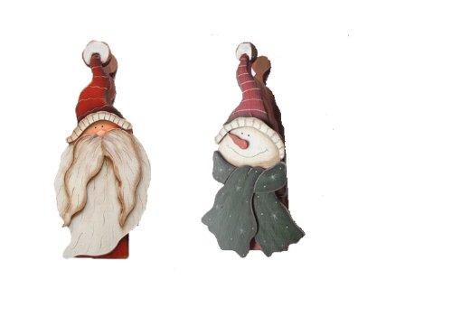 Craft Outlet Holz-Clip, Weihnachtsmann und Schneemann, 21,6 cm, 2 Stück