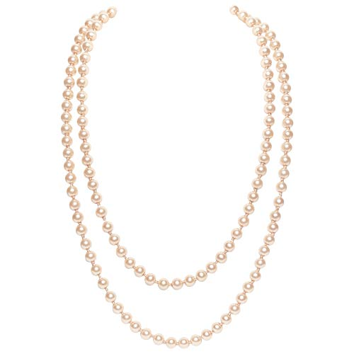 BABEYOND Art Deco - Collar de perlas de imitación de los años 20, diseño de perlas largas para fiestas de disfraces de Gatsby