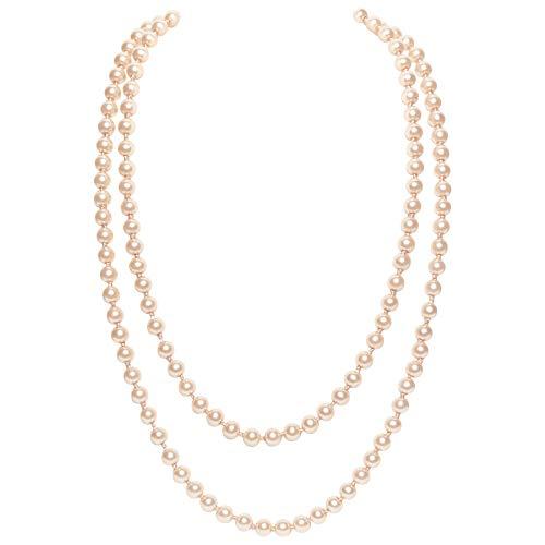 BABEYOND Modische Imitation Perlen Kette Flapper Art Deco 1920s Gatsby Kostüm Accessoires 1980s Farbig Lange Perle Halskette 150 cm / 59