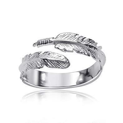 Anello regolabile in argento 925 con motivo piuma, da donna