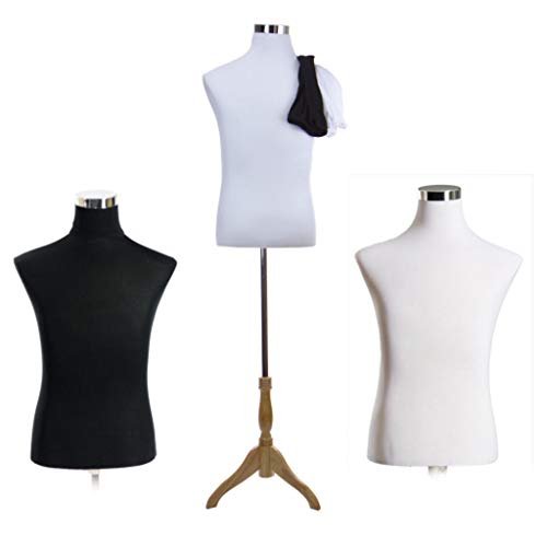Male Dress Form Torso with Blond Wood Stand and Jerseys