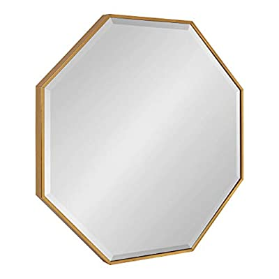 """Kate and Laurel Rhodes Octagon Wall Mirror, 29"""" x 29"""", Gold, Glam Modern"""