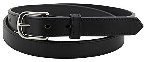 "Men's Black Leather Belt – Stitched Premium Belts - Made in USA - 1"" Wide, 32"