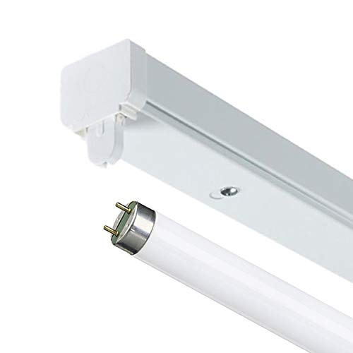 2Ft 18w Fluorescent Indoor High Frequency T8 Batten Fitting - Comes with 1x 3500k Standard White 18w T8 Fluorescent Tube