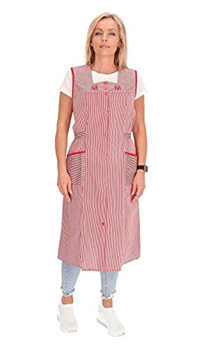 Bata de algodón a rayas para cocina, ropa de casa, delantal rojo 48
