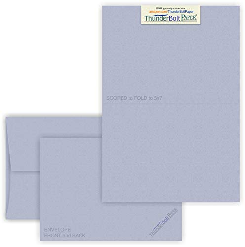 5X7 Folded Size with A-7 Envelopes - Blue Violet Fiber - 15 Sets (7X10 Cards Scored to Fold in Half) Blank Pack -Invitations, Greeting, Thank Yous, Notes, Holidays, Weddings, Birthdays -80# Cardstock