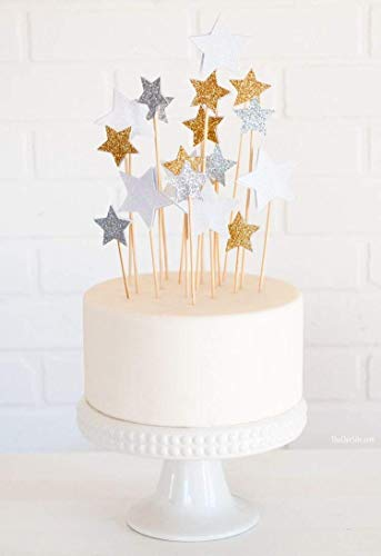 PuTwo 20 Counts Star Cake Decorating Toppers Sticks